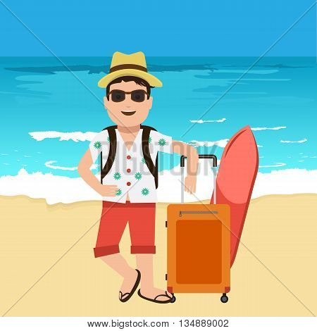 Happy handsome tourist mascot. Creative flat vector illustration. Nice blue sea or ocean with yellow sand with travel bags. Surf Traveller with sunglasses and hat