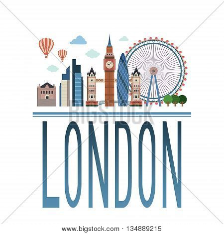 Vector Cityscape of London with inscription London .