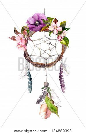 Dream catcher - dreamcatcher with feathers and flowers. Watercolor in boho style