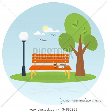 A place to relax. Flat icon. Tree bench lantern  in the park. Vector illustration .