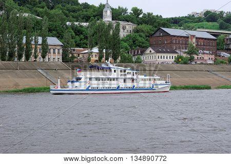 Nizhny Novgorod Russia - June 11.2016. Riverboat Siberia on the river Oka.