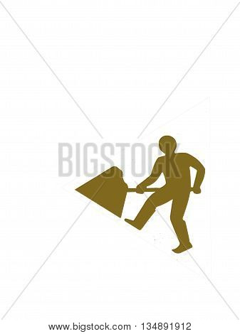 Abstract Creative Man Digging Construction Sign Revamped England