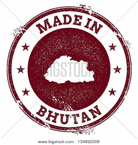 Bhutan Vector Seal. Vintage Country Map Stamp. Grunge Rubber Stamp With Made In Bhutan Text And Map,