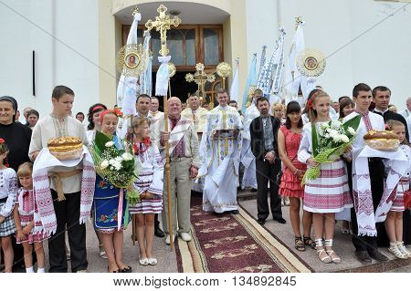 Chortkiv - Ternopil - Ukraine - 12 July 2012. The visit to Chertkov of the Ukrainian Greek Catholic Church His Beatitude Sviatoslav Shevchuk and festive liturgy on the occasion of the temple feast of the Apostles Peter and Paul.