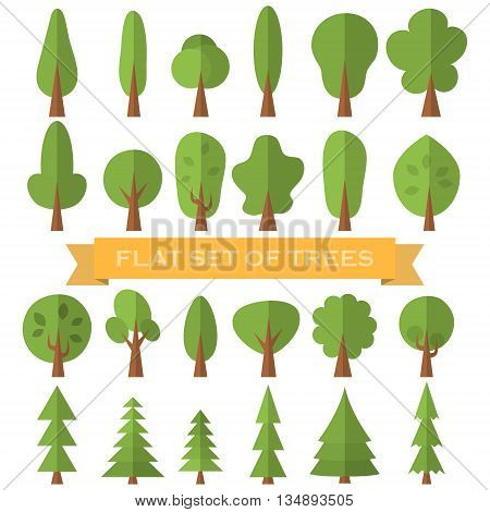 Tree icon flat set . Nature collection.Vector illustration .