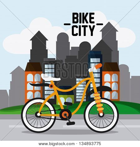 Colorfull bike represented by classic bicycle in front of city buidlings with windows