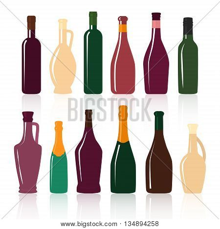 Set of silhouettes of wine bottles on a white background . Vector illustration .