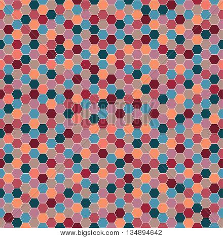 Vector geometric mosaic pattern . Honeycomb colorful background.