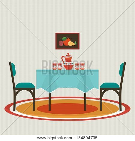 Dining table with and chairs . Vector flat style interior .