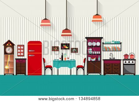 Dining room interior with furniture.Vector flat style .