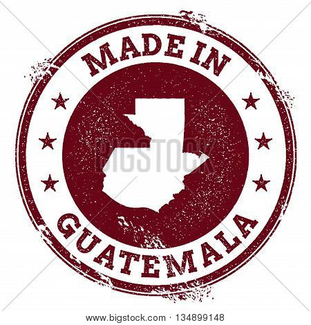 Guatemala Vector Seal. Vintage Country Map Stamp. Grunge Rubber Stamp With Made In Guatemala Text An