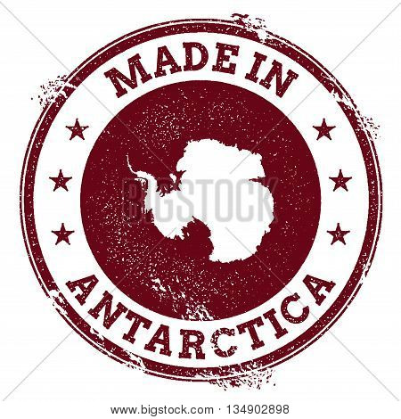Antarctica Vector Seal. Vintage Country Map Stamp. Grunge Rubber Stamp With Made In Antarctica Text