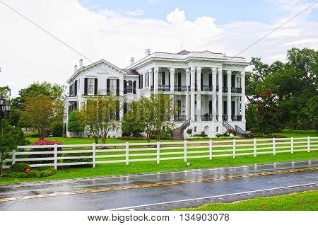 A beautiful Italianate plantation mansion sits among a forest of ancient Live Oaks on a Louisiana plantation