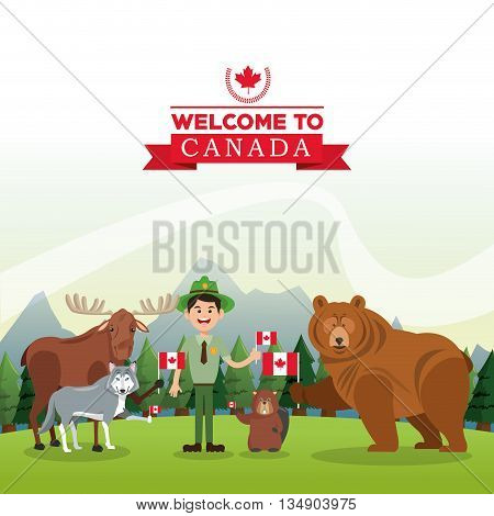 Deer, Wolf, Beaver and Beer illustration, Forest animals illustration