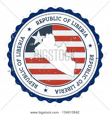 Liberia Map And Flag In Vintage Rubber Stamp Of State Colours. Grungy Travel Stamp With Map And Flag
