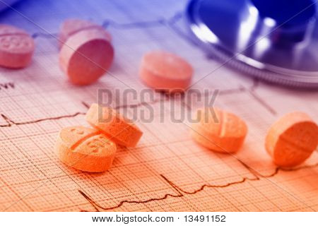 pills on the cardiogram poster
