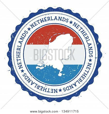 Netherlands Map And Flag In Vintage Rubber Stamp Of State Colours. Grungy Travel Stamp With Map And