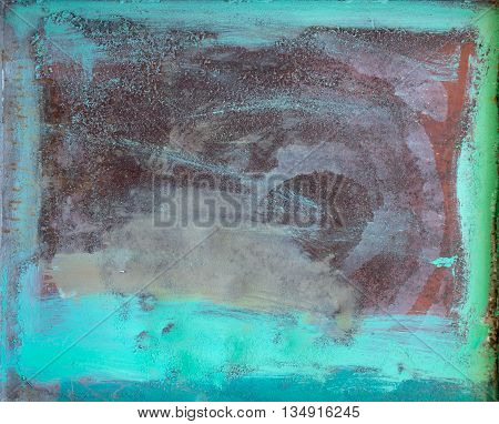 Beautiful bright turquoise metal frame. Abstract paint applied to the wall with a brush