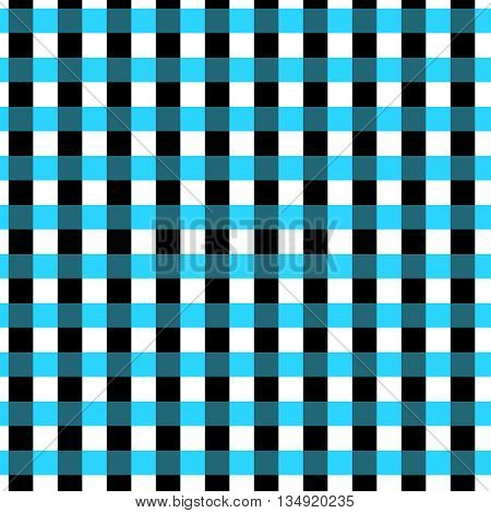Seamless geometric gingham pattern. Abstract background. Blue black and white stripes. Chequered pattern in swatch