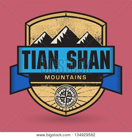 Stamp or vintage emblem with text Tian Shan Mountains, vector illustration