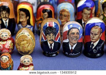 Russian Dolls of famous people John Leonard Barack Obama Vladimir Putin displayed in New York City, USA