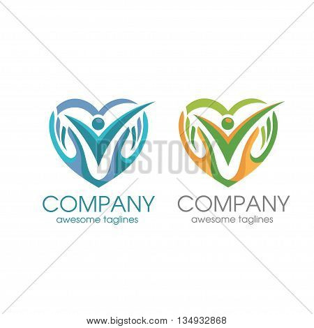 people care logo, human love and hand symbol logo template