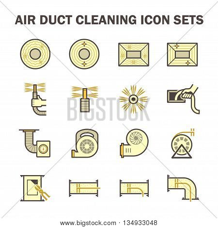 Air duct pipe cleaning vector icon sets.