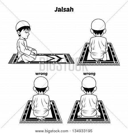 Muslim Prayer Position Guide Step by Step Perform by Boy Sitting Between The Two Prostrating and Position of The Feet with Wrong Position Outline Version Vector Illustration