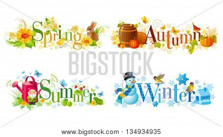 Four seasons calendar set. Spring, Summer, Autumn, Winter text banners with text design and seasonal icons rabbit, chicken, flower, garden gnome, watering can, barrels, pumpkin, snowman, house.