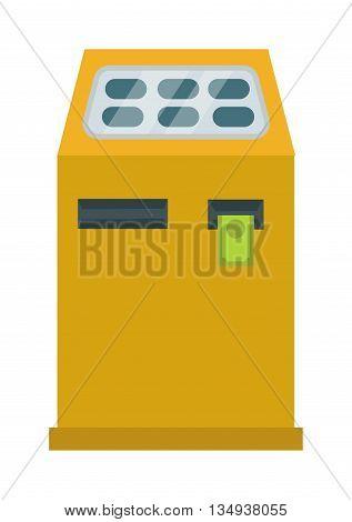 Interactive information kiosk payment terminal. Payment terminal vector illustration. Kiosk bank service information interactive business, computer touch screen display payment terminal.