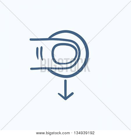 Drag down touch screen gesture vector sketch icon isolated on background. Hand drawn drag down touch screen gesture icon. Drag down touch screen gesture sketch icon for infographic, website or app.