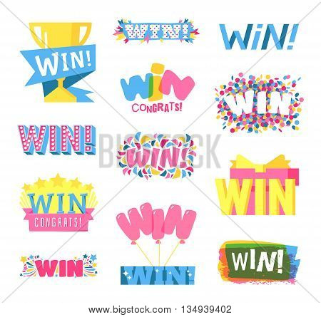 Win sign with colour confetti vector paper illustration. Success luck message contest promotion win text. Banner competition award lucky lottery word win text. Modern reward gamble champion set.
