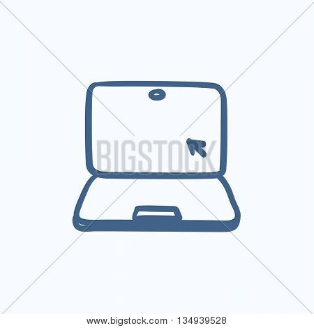 Laptop with cursor vector sketch icon isolated on background. Hand drawn Laptop with cursor icon. Laptop with cursor sketch icon for infographic, website or app.