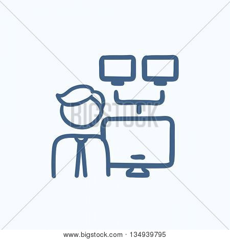 Network administrator vector sketch icon isolated on background. Hand drawn Network administrator icon. Network administrator sketch icon for infographic, website or app.