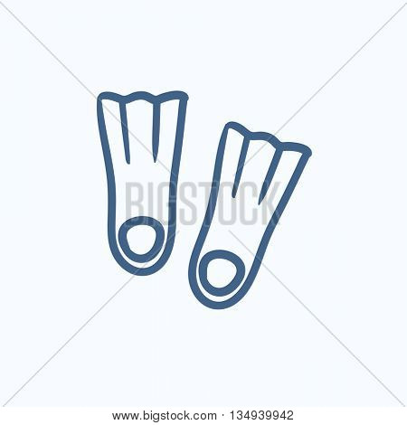 Flippers vector sketch icon isolated on background. Hand drawn Flippers icon. Flippers sketch icon for infographic, website or app.