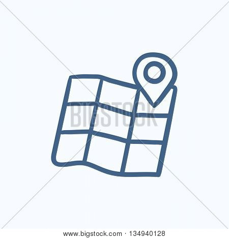 Map with pointer vector sketch icon isolated on background. Hand drawn Map with pointer icon. Map with pointer sketch icon for infographic, website or app.