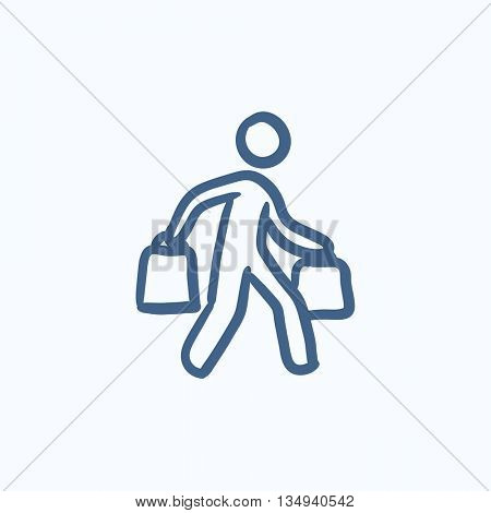 Man carrying shopping bags vector sketch icon isolated on background. Hand drawn Man carrying shopping bags icon. Man carrying shopping bags sketch icon for infographic, website or app.