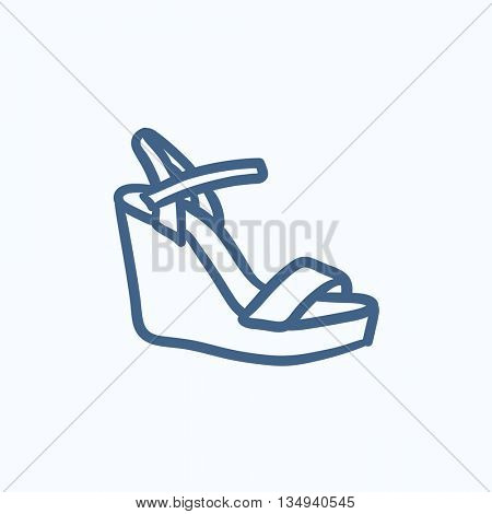 Women platform sandal vector sketch icon isolated on background. Hand drawn Women platform sandal icon. Women platform sandal sketch icon for infographic, website or app.