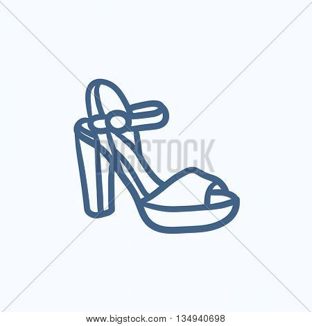 High-heeled sandal vector sketch icon isolated on background. Hand drawn High-heeled sandal icon. High-heeled sandal sketch icon for infographic, website or app.