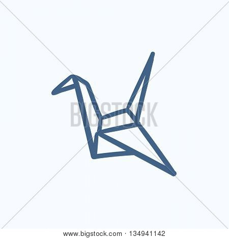 Origami bird vector sketch icon isolated on background. Hand drawn Origami bird icon. Origami bird sketch icon for infographic, website or app.