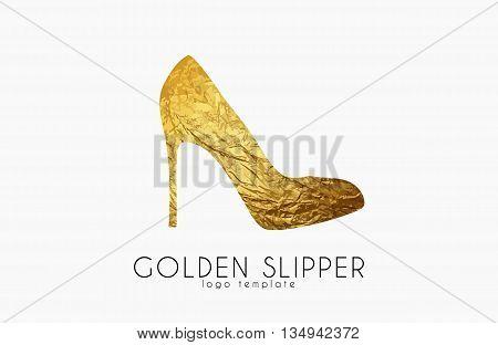 Golden slipper. Princess slipper. Elegant slipper logo design. Fashion logo