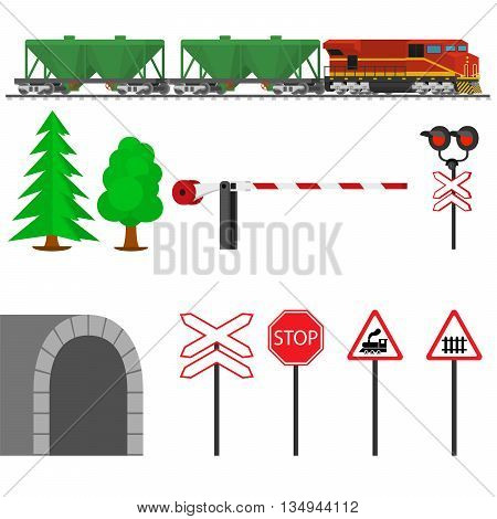 Railroad traffic way and train wagons for transportation of grain. Railroad train transportation. Railway equipment with signs, barriers, alarms, traffic lights. Flat icons vector illustration.
