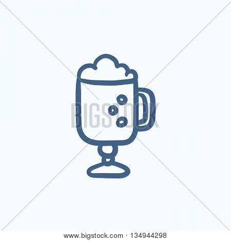 Glass mug with foam vector sketch icon isolated on background. Hand drawn Glass mug with foam icon. Glass mug with foam sketch icon for infographic, website or app.