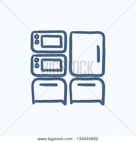 Household appliances vector sketch icon isolated on background. Hand drawn Household appliances icon. Household appliances sketch icon for infographic, website or app.