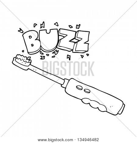 freehand drawn black and white cartoon buzzing electric toothbrush