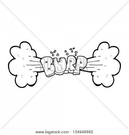 freehand drawn black and white cartoon burp symbol