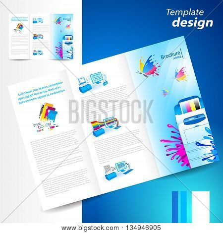 brochure folder leaflet printer cmyk prepress polygraphy ink splash