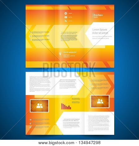 brochure folder leaflet geometric abstract element arrow line white orange background