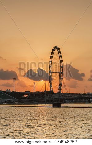 Singapore skyline at sunrise. view of Singapore