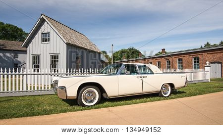 DEARBORN MI/USA - JUNE 18 2016: A 1962 Lincoln Continental car at The Henry Ford (THF) Motor Muster car show, held at Greenfield Village, near Detroit, Michigan.
